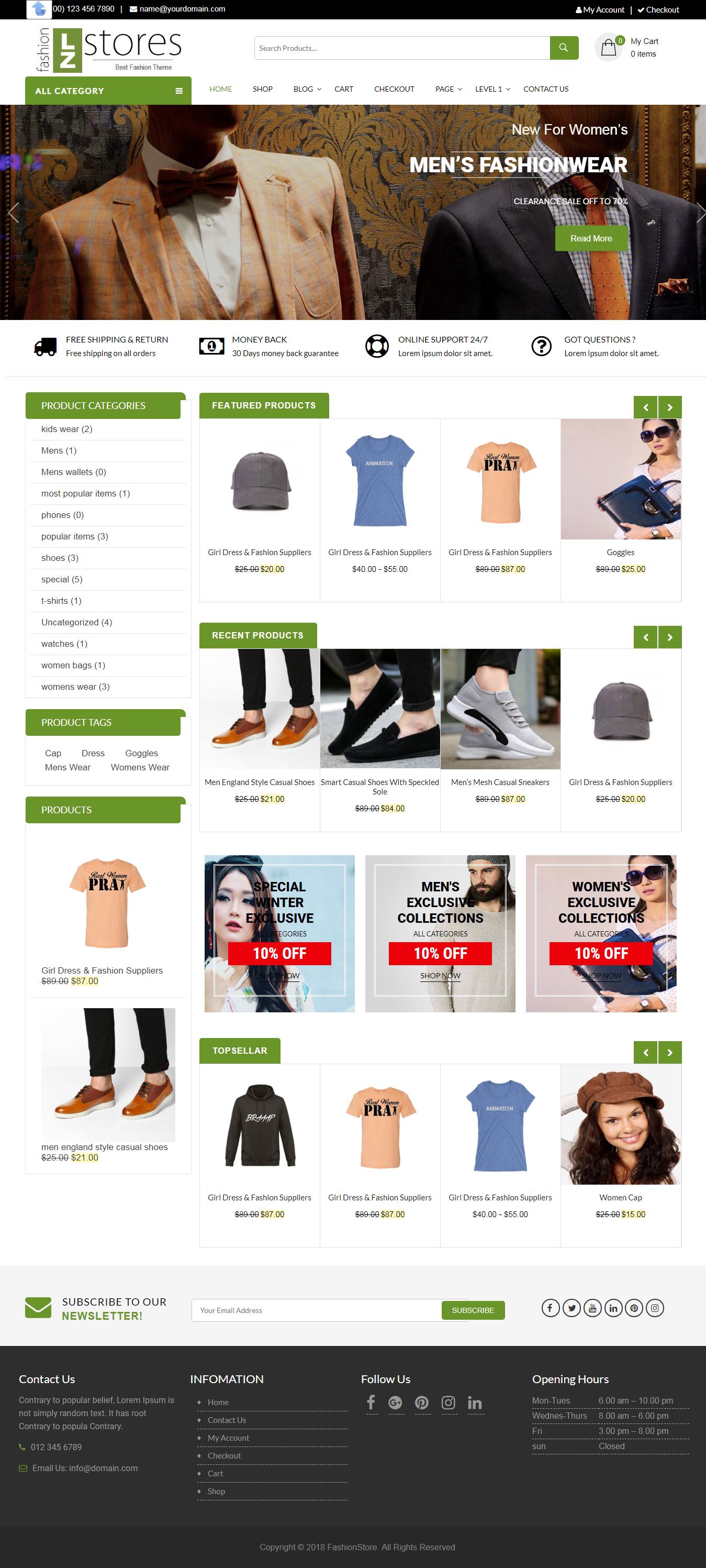 LZ Fashion Ecommerce: el mejor tema gratuito de WordPress sobre moda