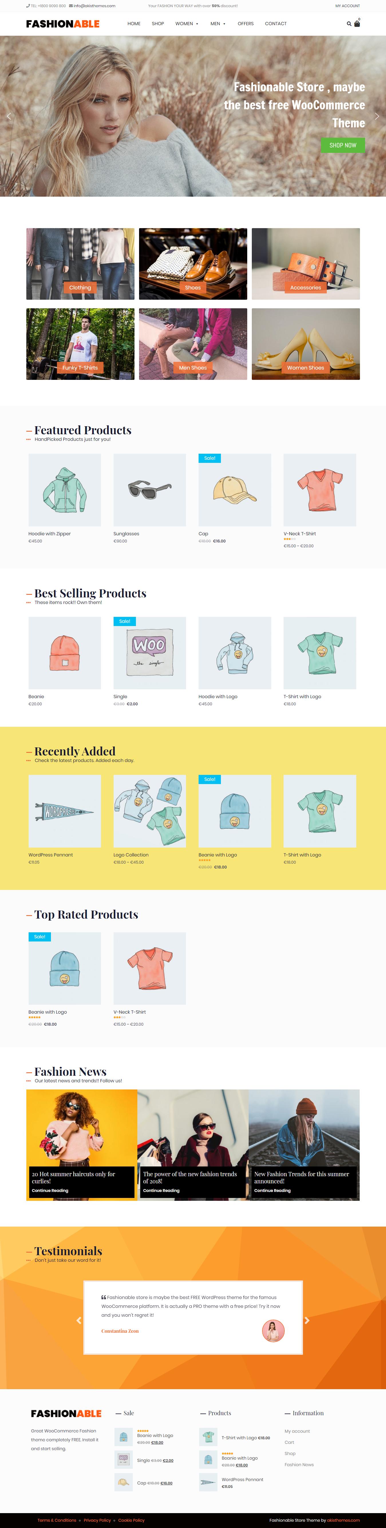 Fashionable Store: el mejor tema gratuito de WordPress sobre moda