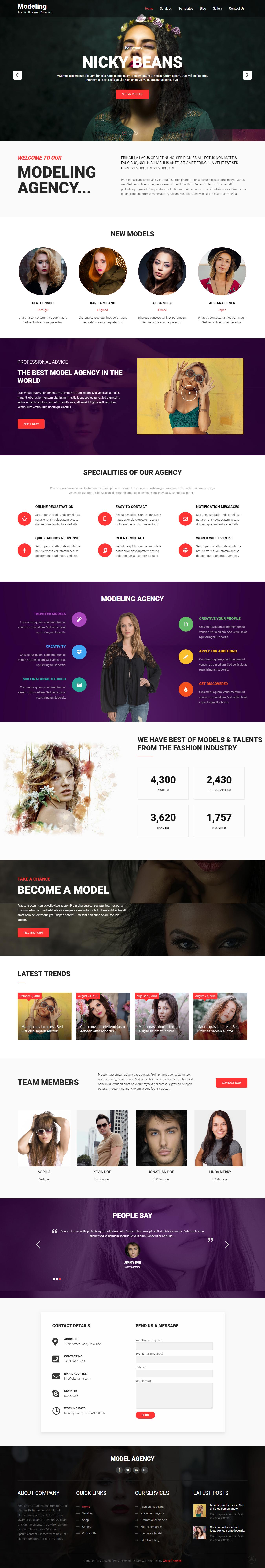 Modeling Lite - El mejor tema de WordPress de moda gratuito