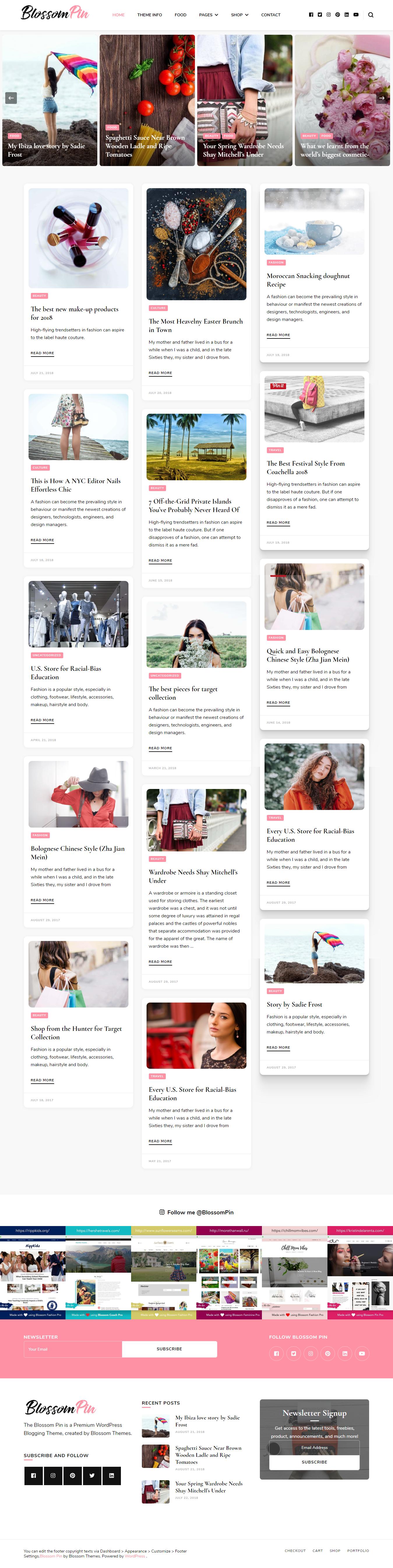 Blossom Pin - El mejor tema gratuito de WordPress de moda