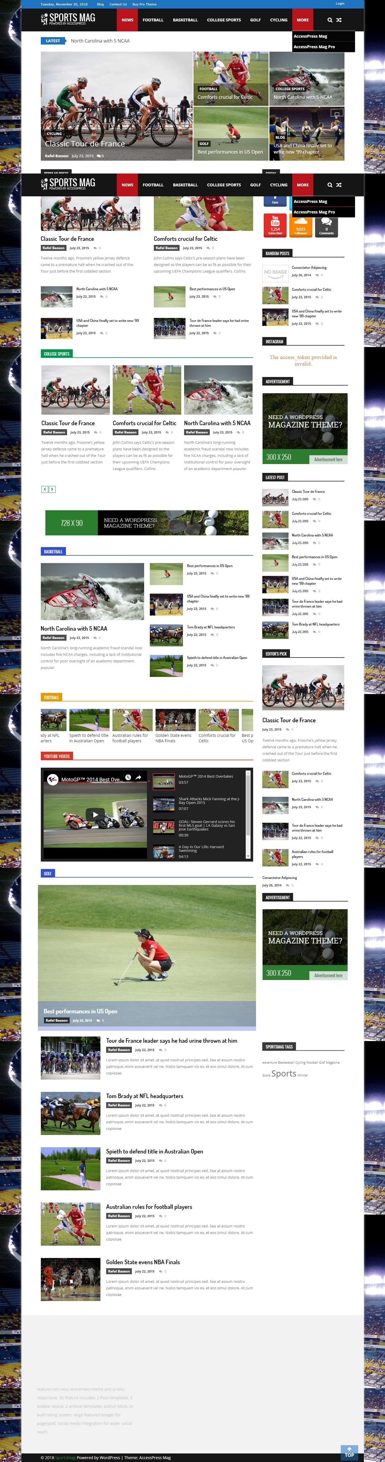 SportsMag - El mejor tema gratuito de WordPress para deportes