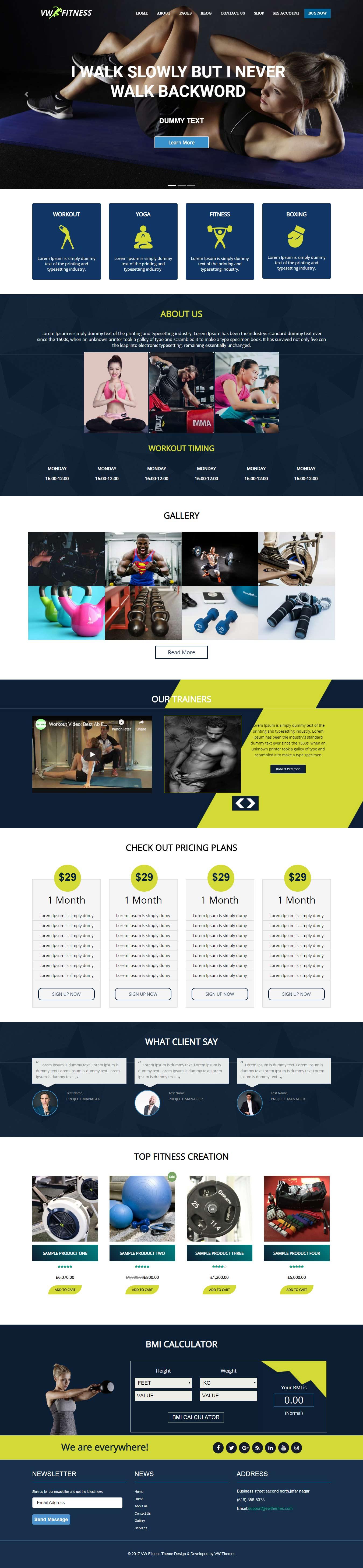 VW Fitness: el mejor tema gratuito de WordPress para deportes
