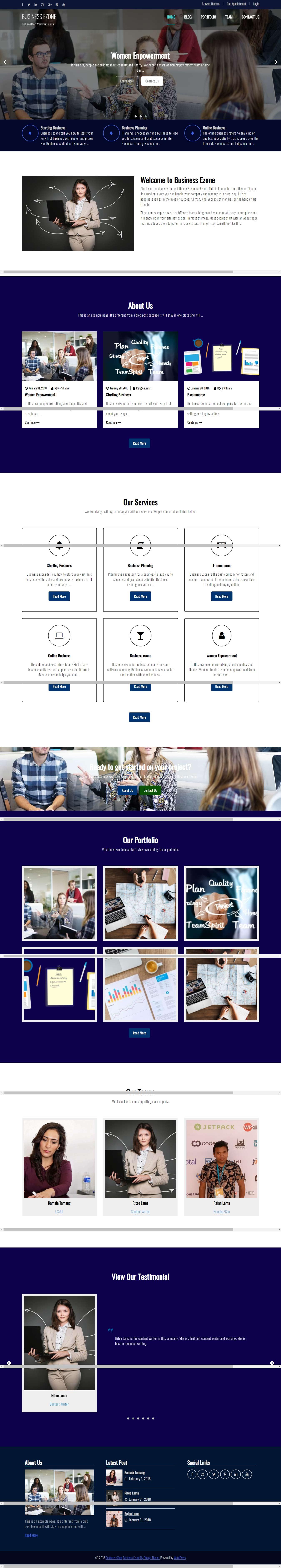Business eZone: el mejor tema gratuito de WordPress para deportes