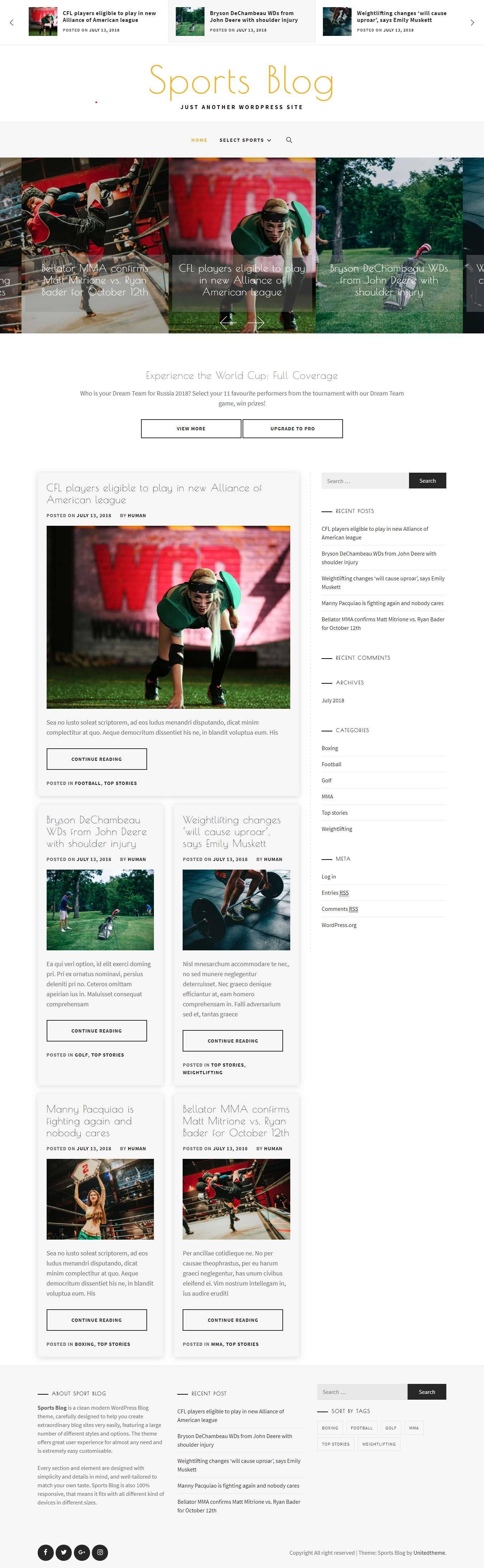 Sportsblog - El mejor tema gratuito de WordPress para deportes