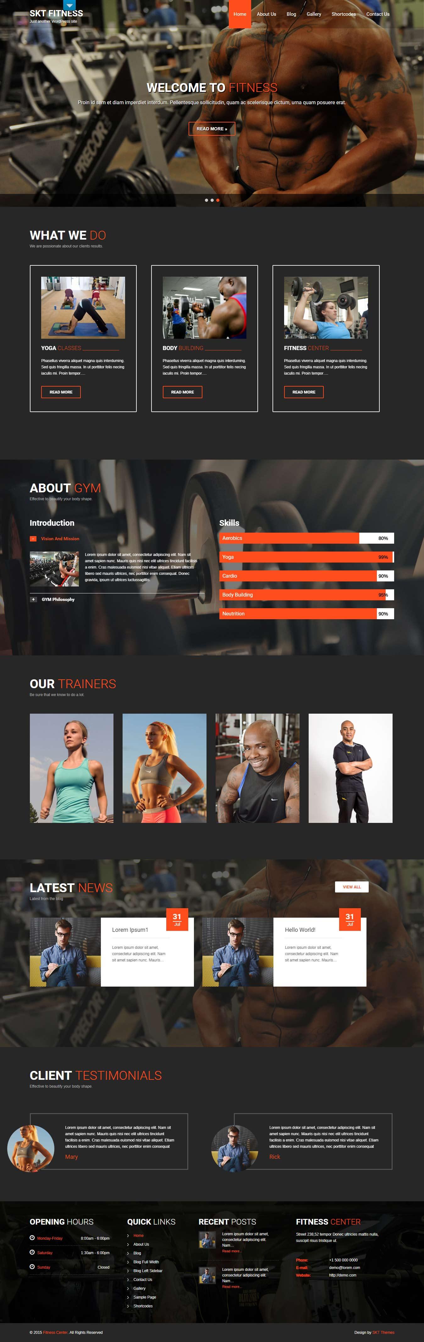 Fitness Lite - El mejor tema gratuito de WordPress para deportes