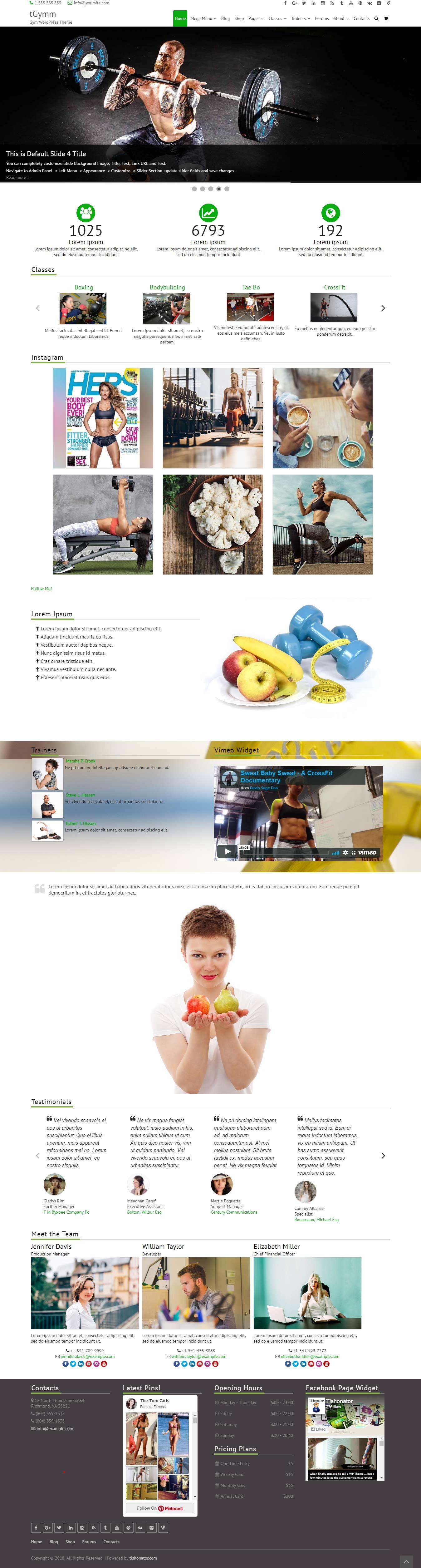 fGymm - El mejor tema gratuito de WordPress para deportes