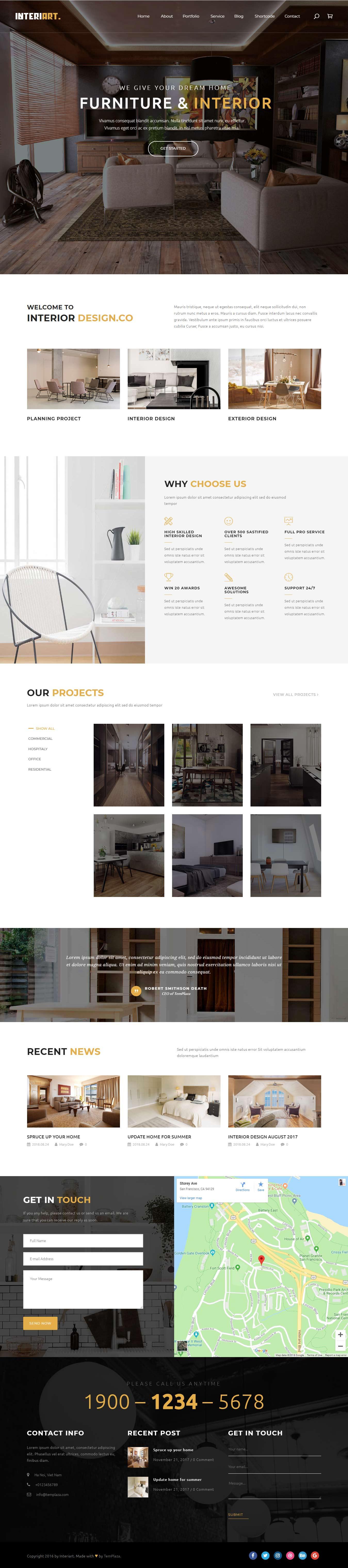 Interiart - Mejor tema de WordPress para diseño de interiores premium