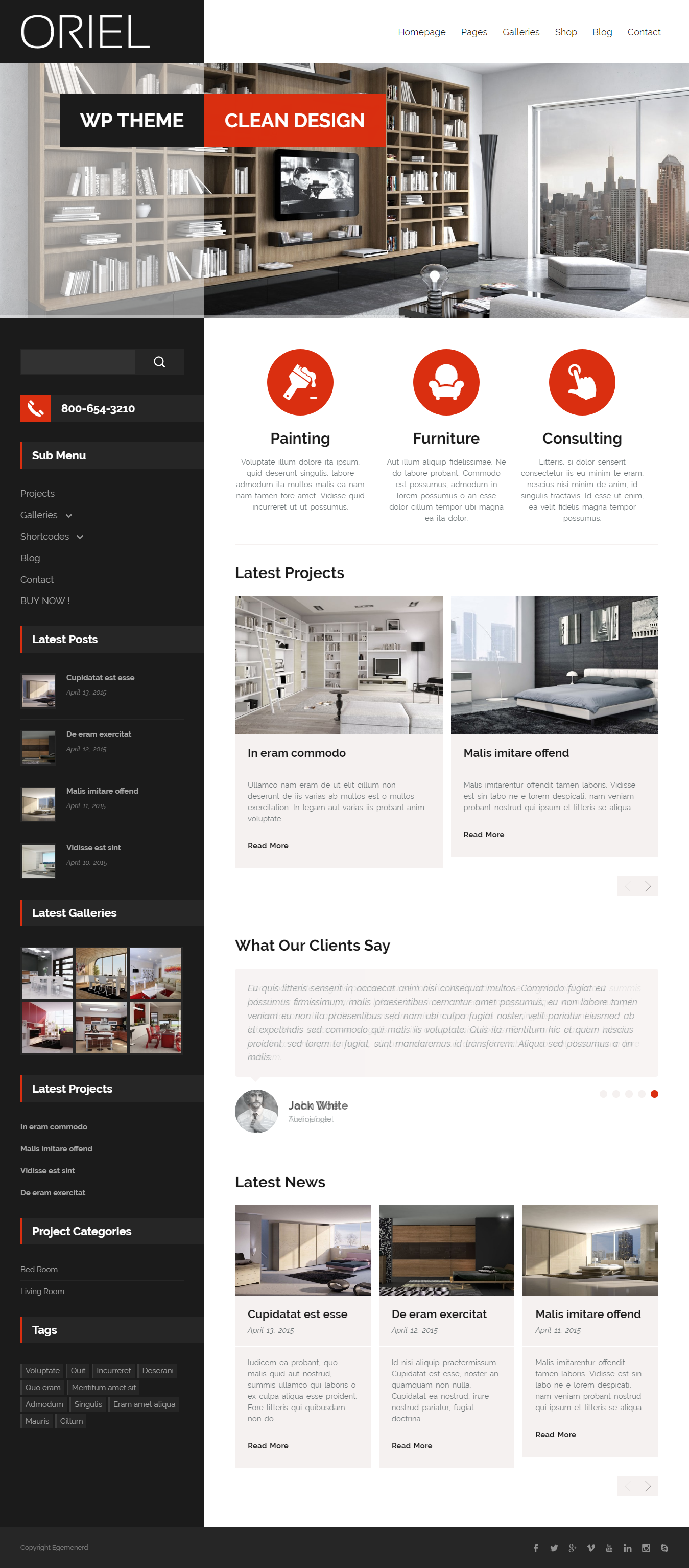 Oriel - Mejor tema de WordPress de diseño de interiores premium