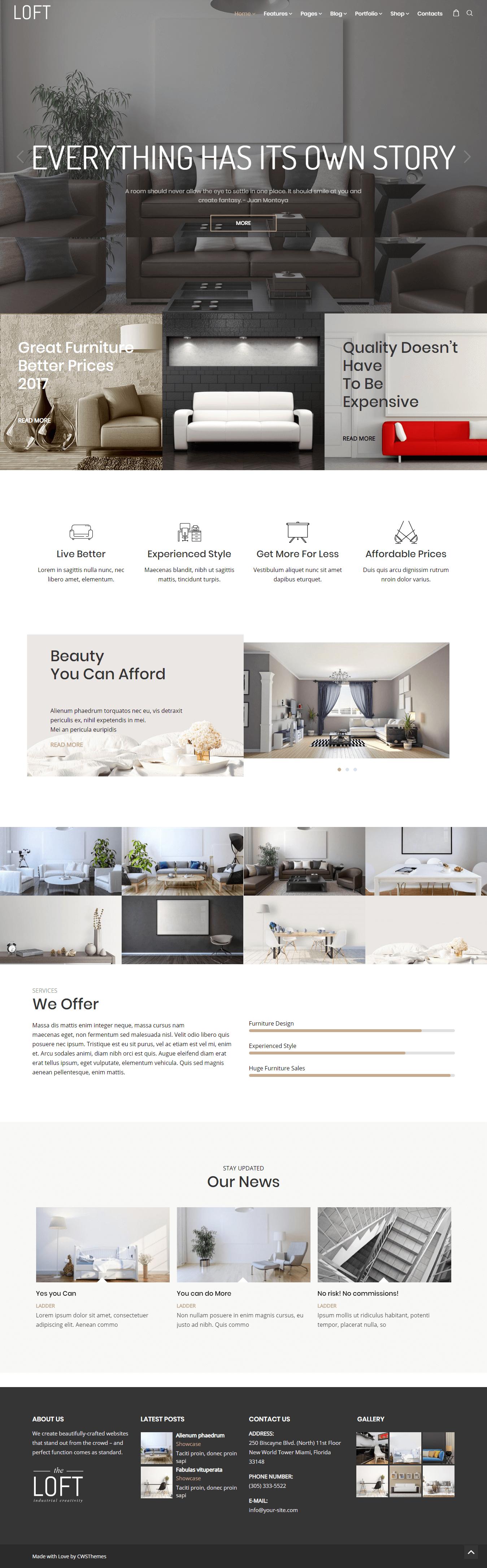 Loft - Mejor tema de WordPress para diseño de interiores premium