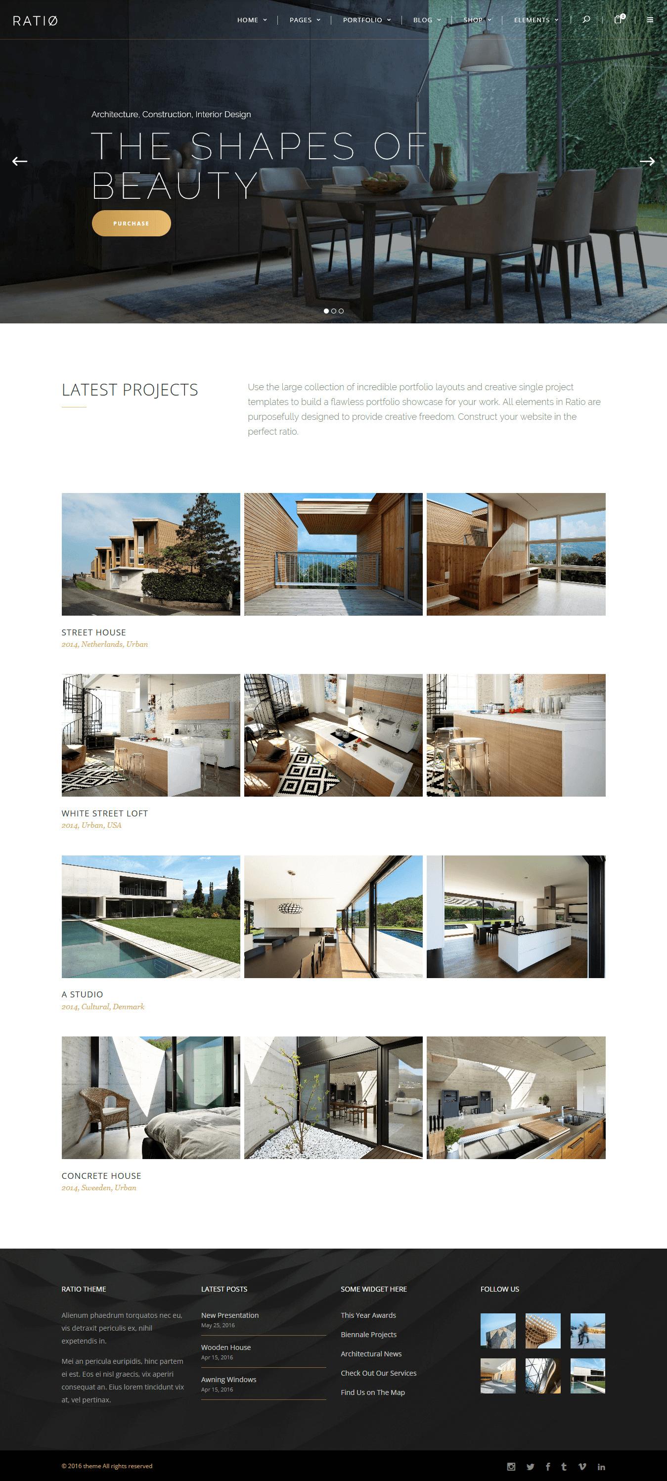 Ratio - Mejor tema de WordPress para diseño de interiores premium