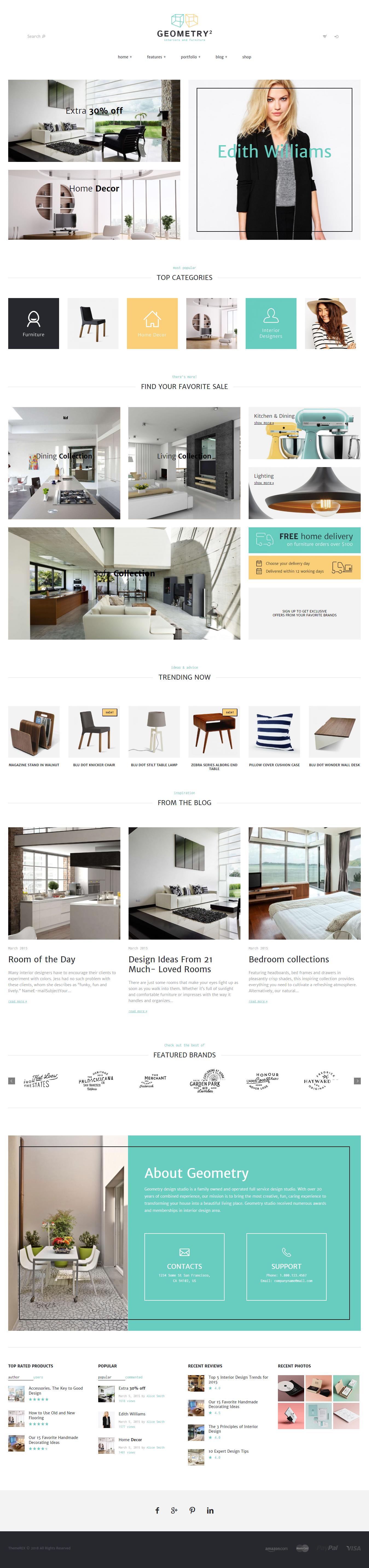 Geometry: el mejor tema de WordPress para diseño de interiores premium