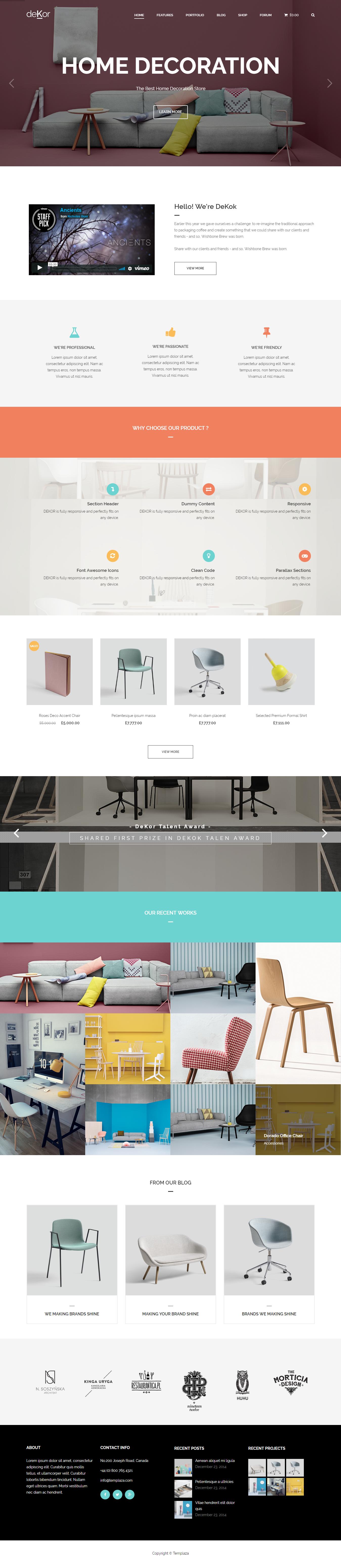 deKor - Mejor tema de WordPress de diseño de interiores premium