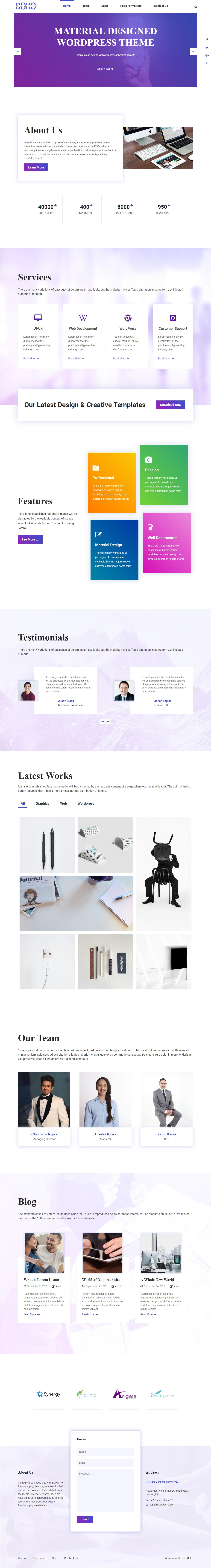 Doko: el mejor tema de WordPress para diseño de materiales gratuito