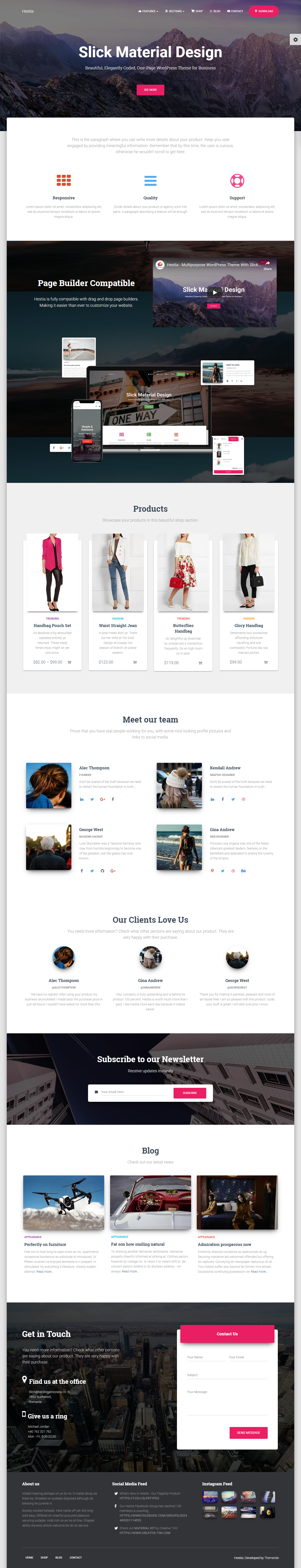 Hestia Lite - El mejor tema de WordPress para diseño de materiales gratuito