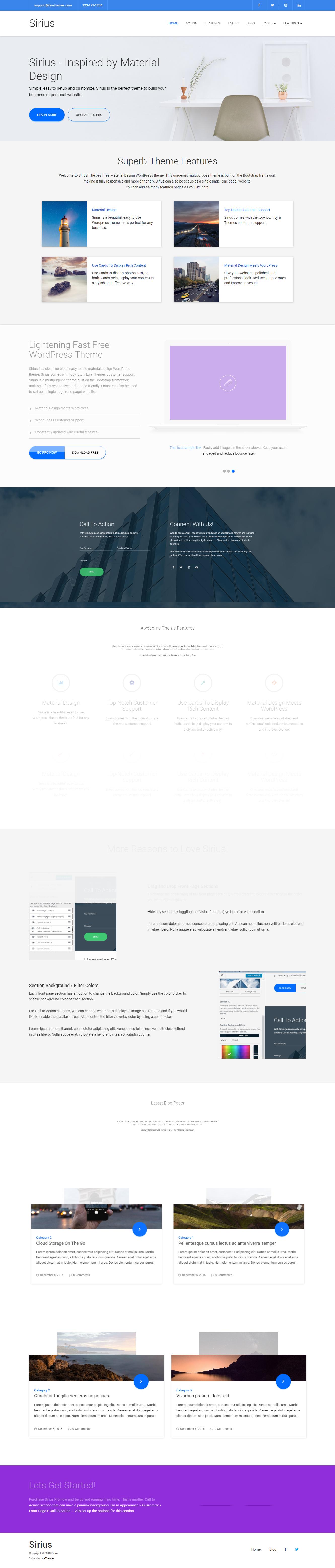 Sirius Lite: el mejor tema de WordPress para diseño de materiales gratuito