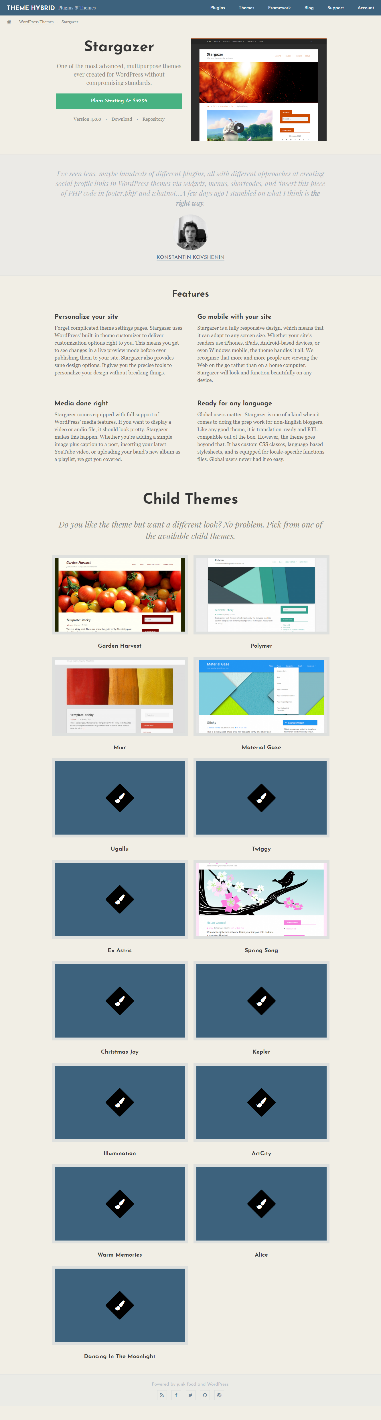 Stargazer: el mejor tema gratuito de WordPress para diseño de materiales