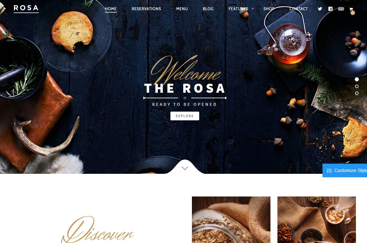 Rosa - Los mejores temas de WordPress de comida premium para restaurantes