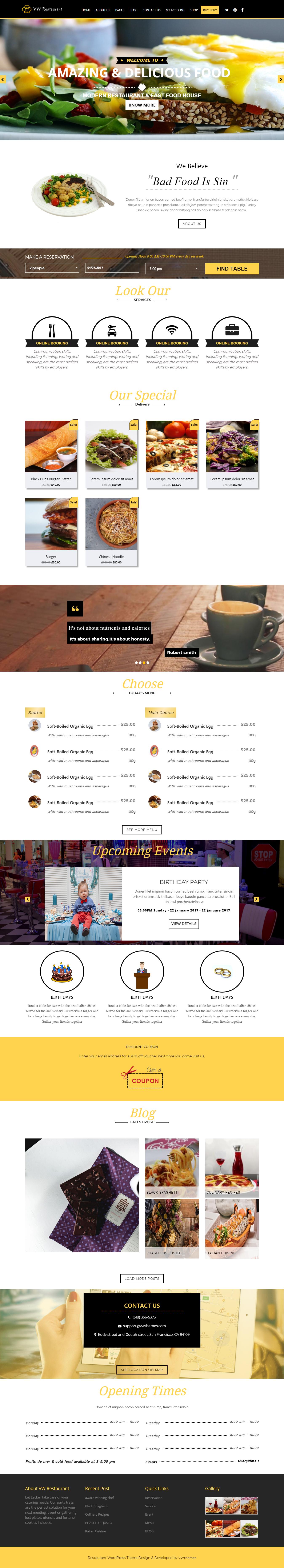 VW Restaurant Lite - El mejor tema gratuito de WordPress para restaurantes