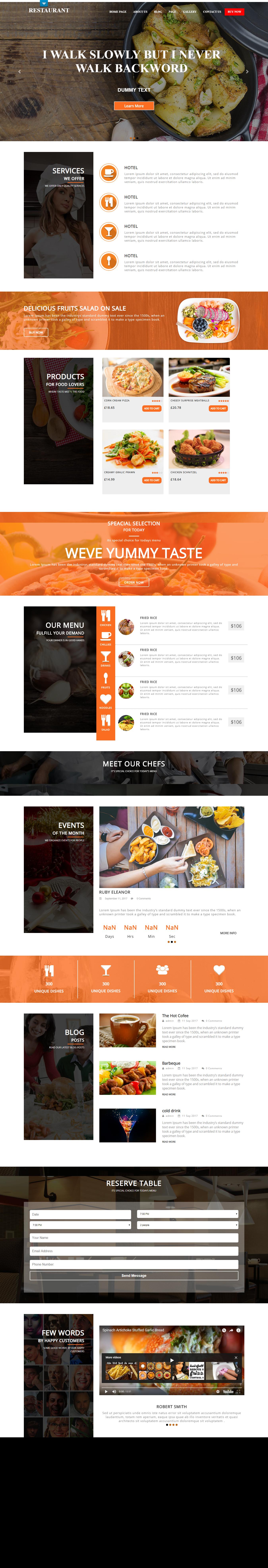 Restaurante de comida: el mejor tema gratuito de WordPress para restaurantes