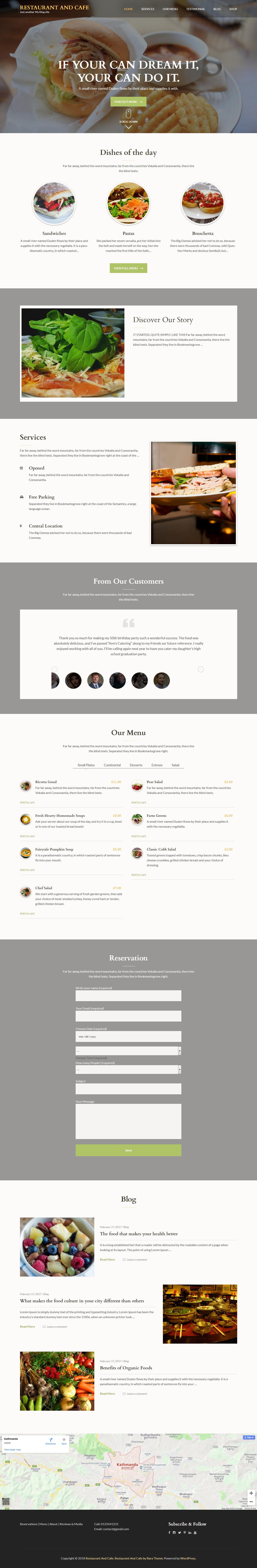 Restaurant and Cafe: el mejor tema gratuito de WordPress para restaurantes