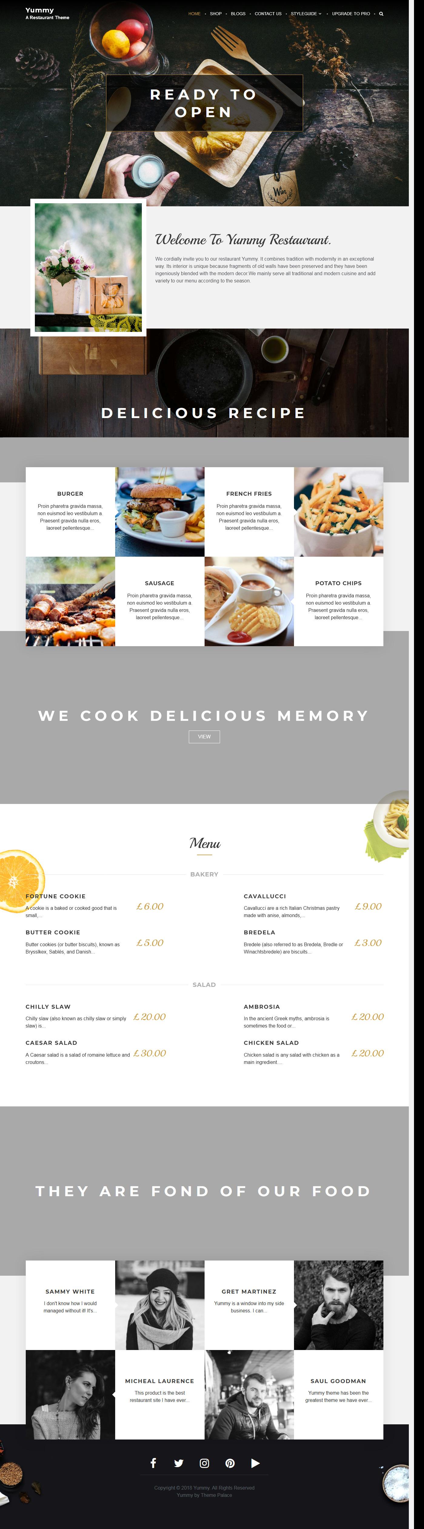 Yummy - El mejor tema gratuito de WordPress para restaurantes