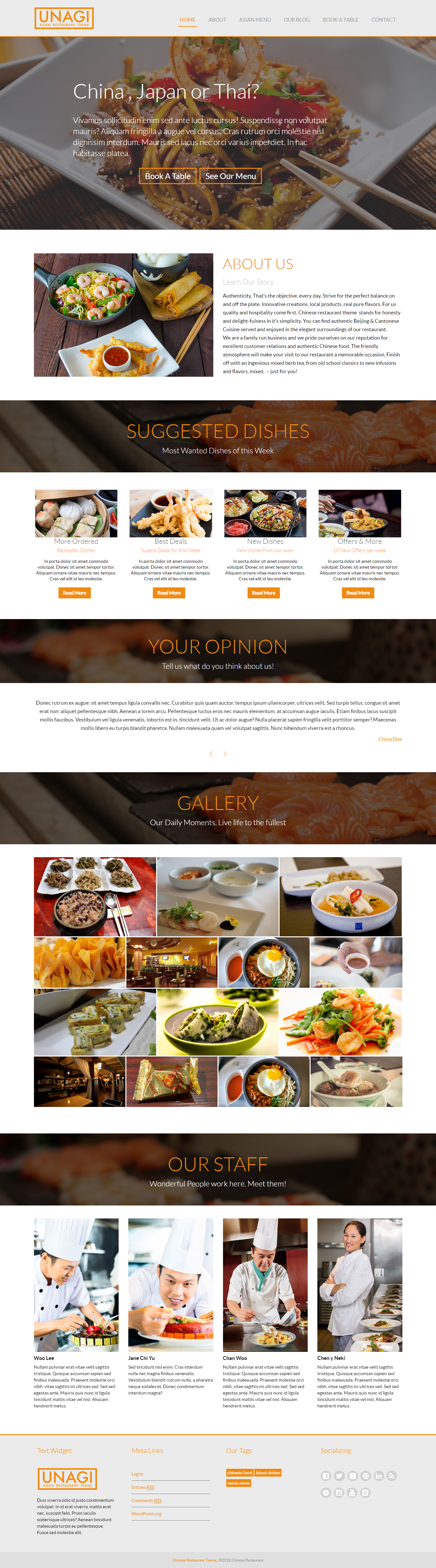 Restaurante chino: el mejor tema gratuito de WordPress para restaurantes