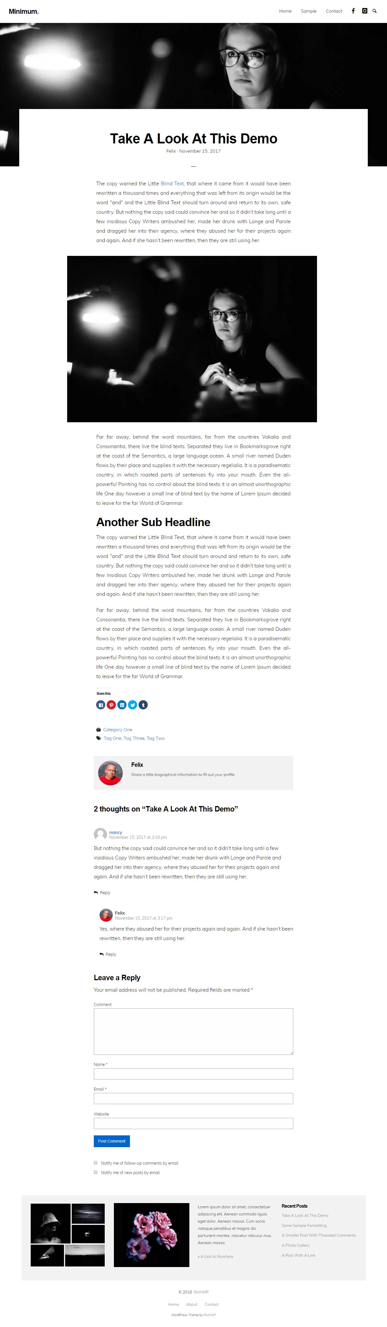 Mínimo Mínimo - El mejor tema de WordPress Mínimo gratuito