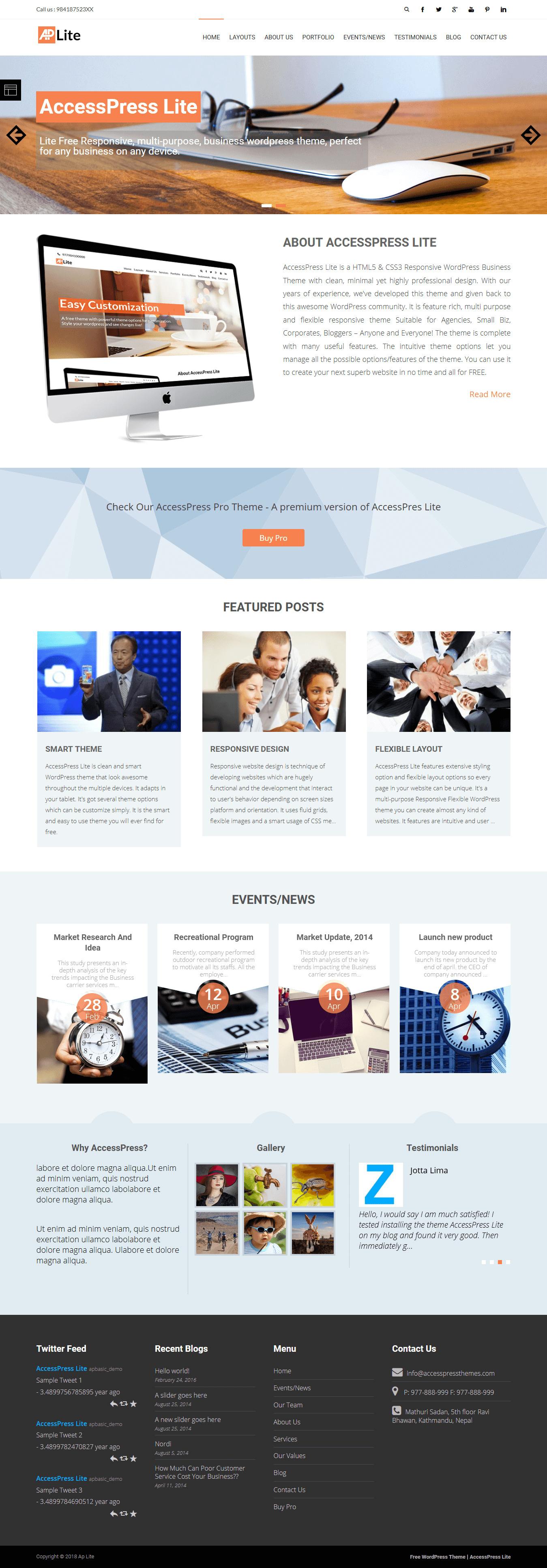 AccessPress Lite - El mejor tema de WordPress multipropósito gratuito