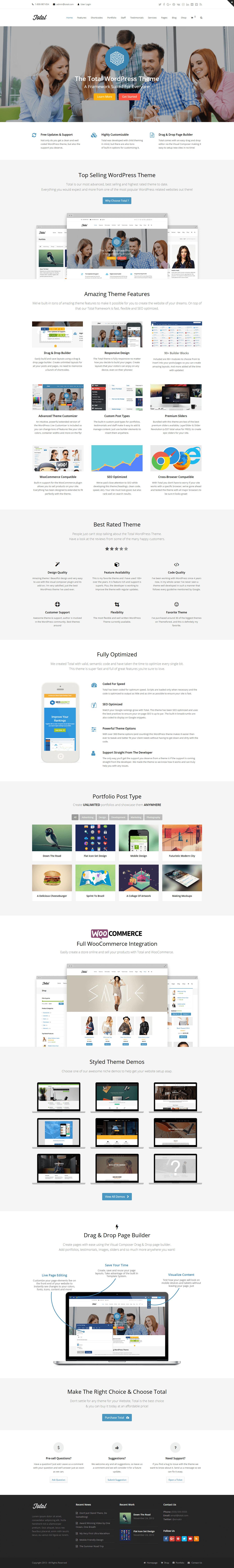 Total - Mejor tema premium multipropósito de WordPress