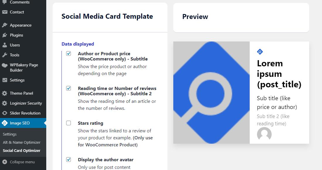 plantilla de tarjeta social optimizador de imagen seo
