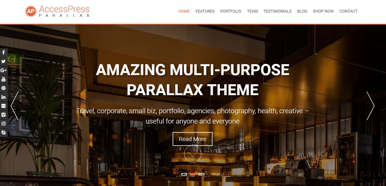 AccessPress Parallax: los mejores temas y plantillas gratuitos de WordPress de una página