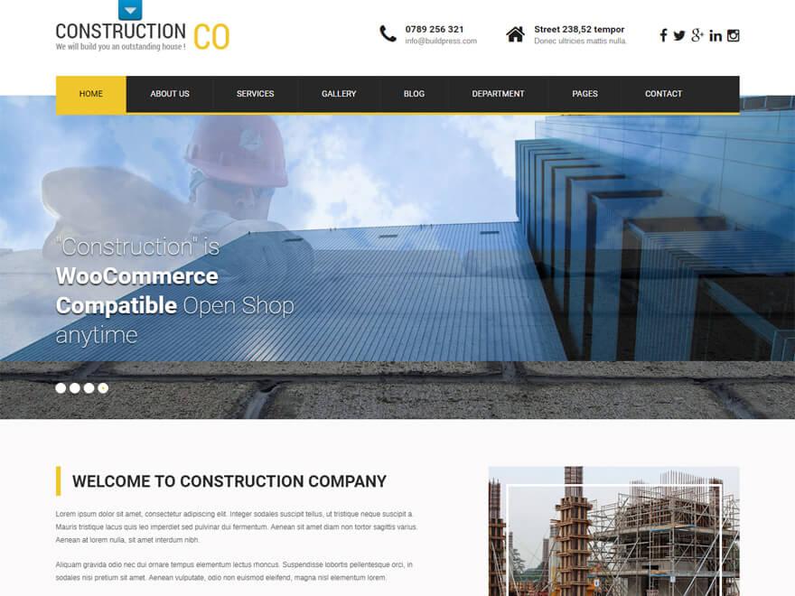 SKT Construction Pro: las mejores plantillas y temas de WordPress para empresas de construcción