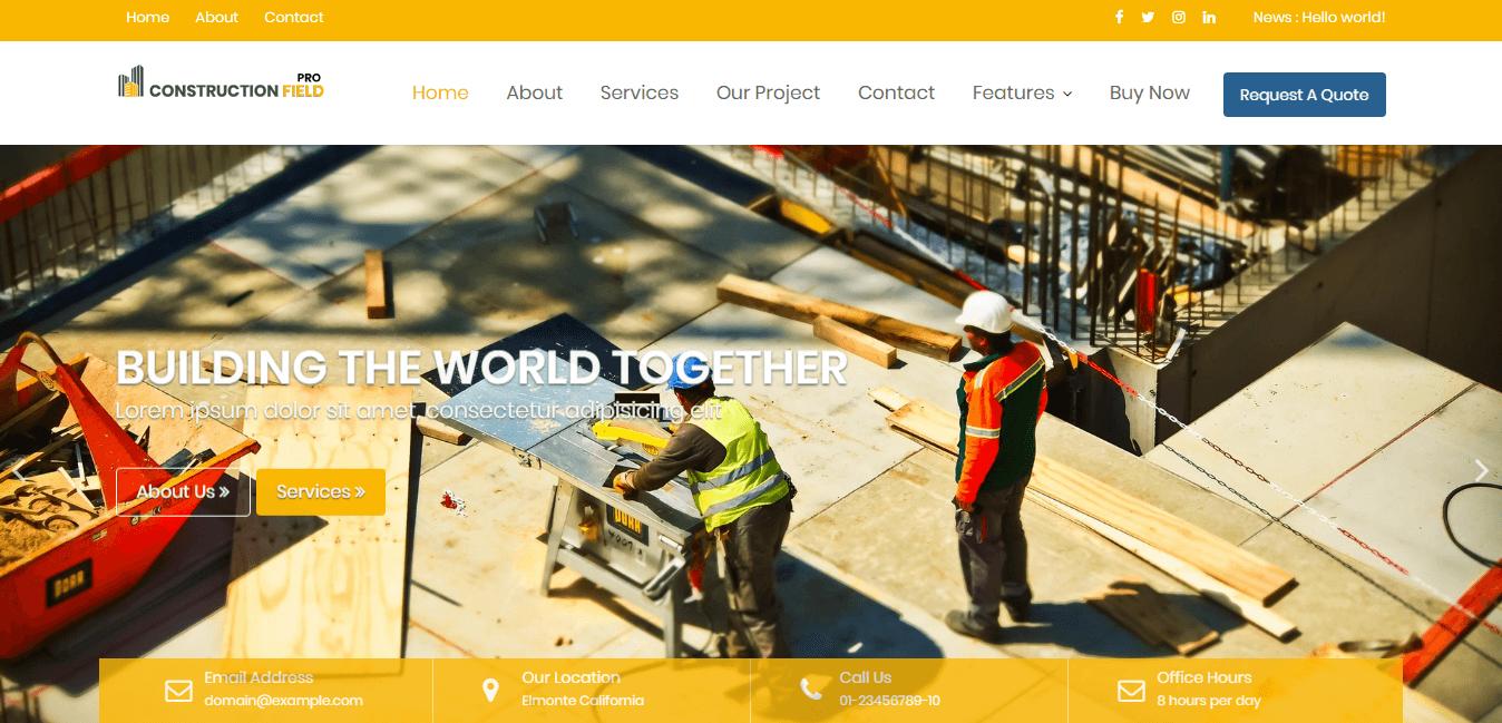 Mejores temas y plantillas de WordPress para empresas de construcción