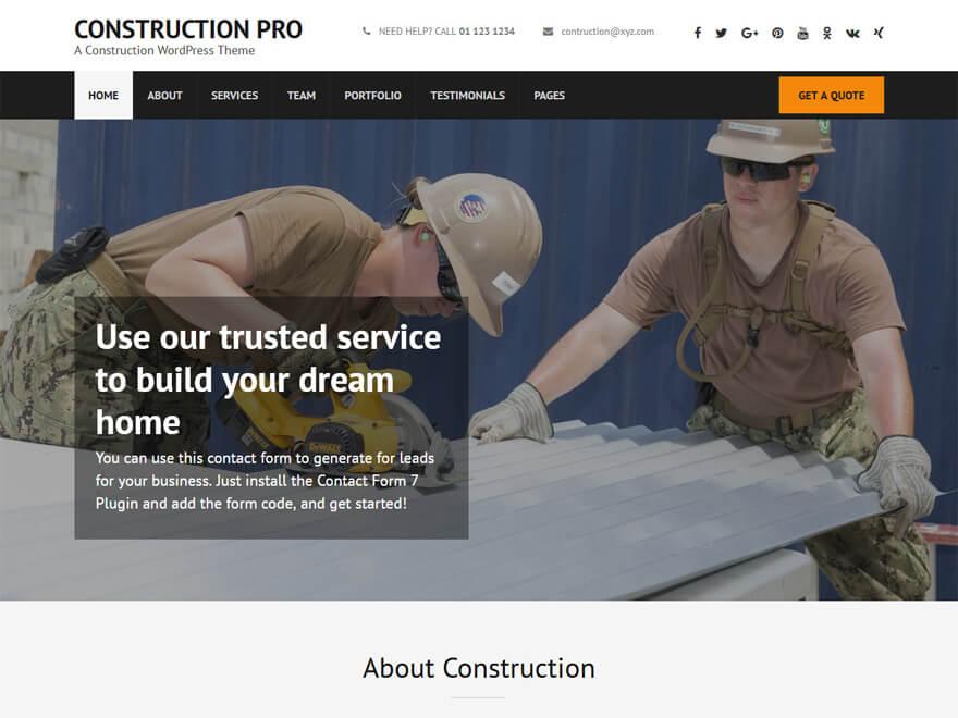 Construction Landing Page Pro: las mejores plantillas y temas de WordPress para empresas de construcción