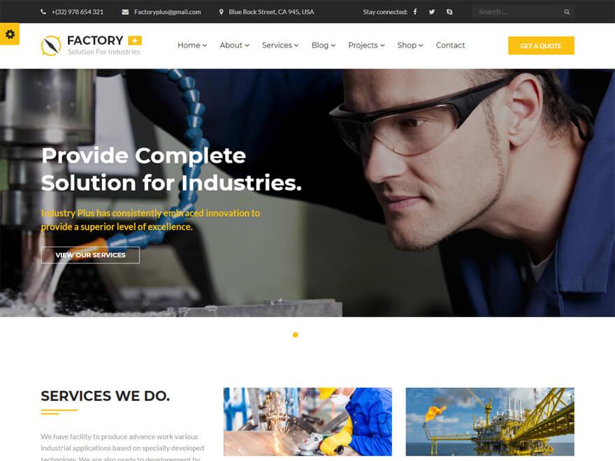 Factory Plus: las mejores plantillas y temas de WordPress para empresas de construcción