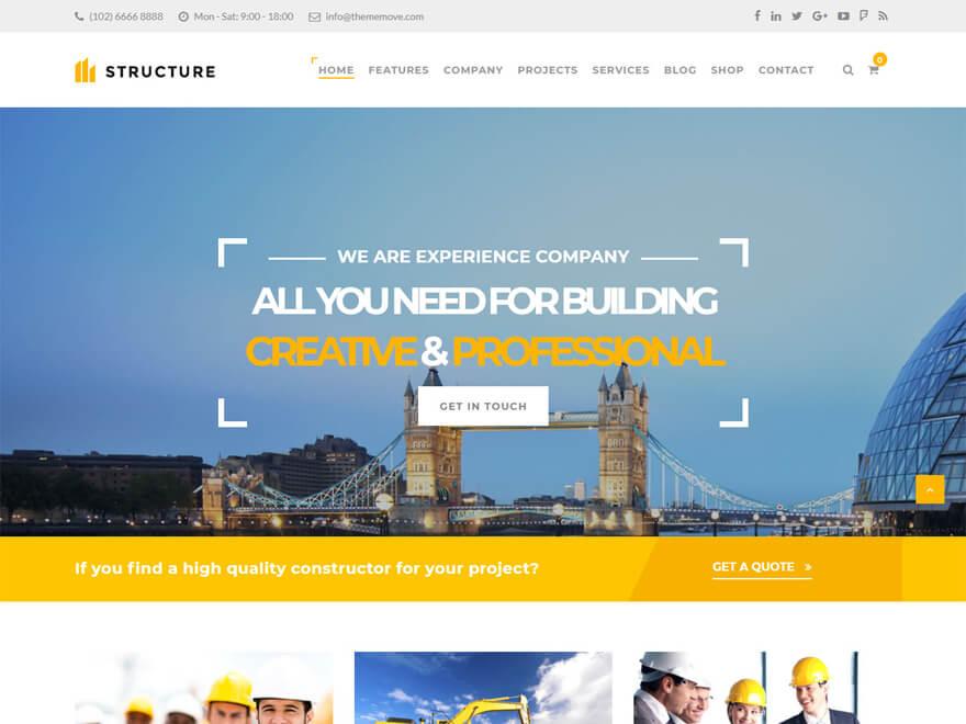 Estructura: las mejores plantillas y temas de WordPress para empresas de construcción