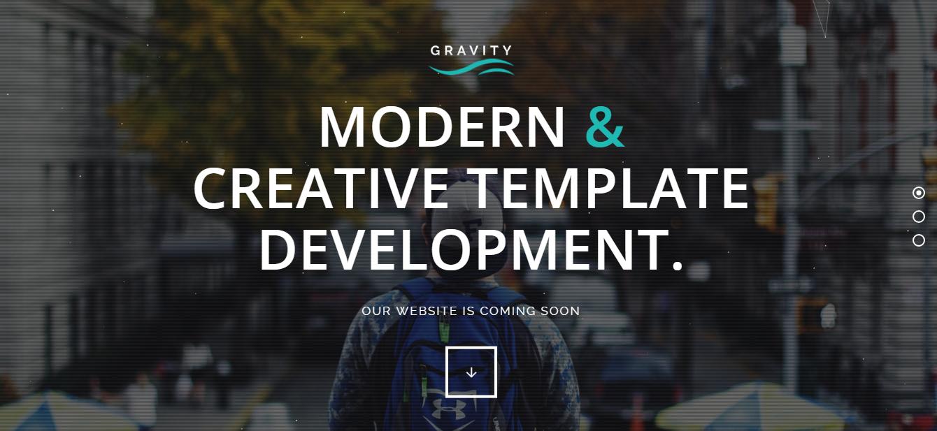 Gravity - Tema de WordPress Premium Under Construsction