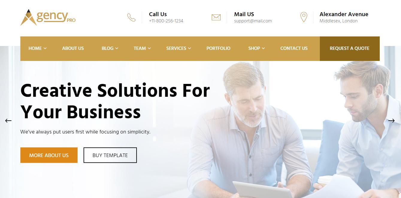 Agency Pro - Tema premium multipropósito de WordPress
