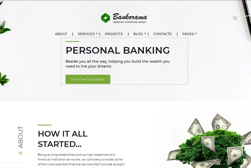 Tema de Bankorama para WordPress