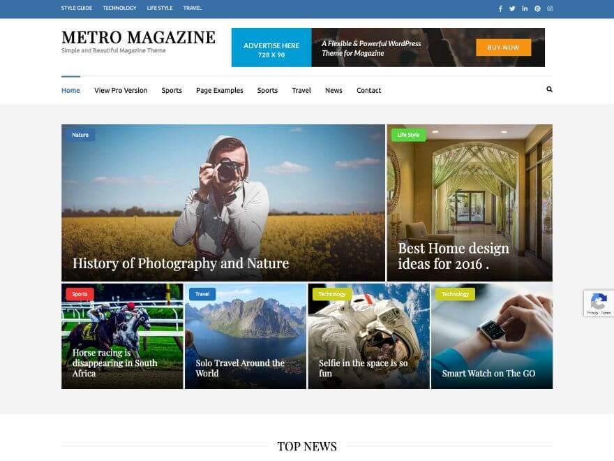 Tema de WordPress gratuito de Metro Magazine
