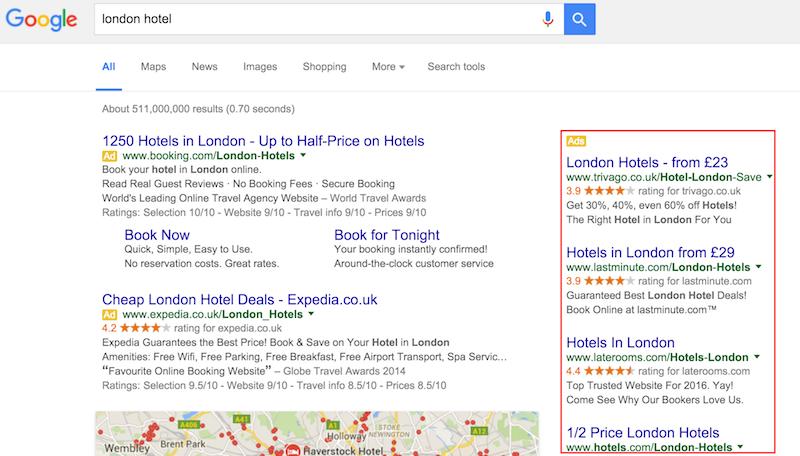 Búsqueda de Google de hoteles de Londres con anuncios en el lado derecho