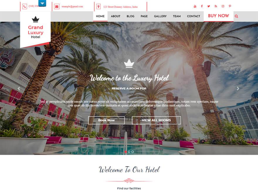 Hotel Resort - Best Hostel Resort Temas de WordPress gratuitos (Plantillas de hostelería)