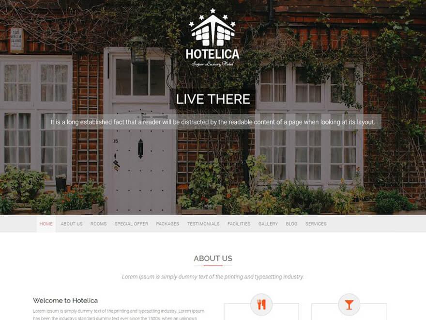 Hotelica - Best Hostel Resort Temas de WordPress gratuitos (Plantillas de hostelería)