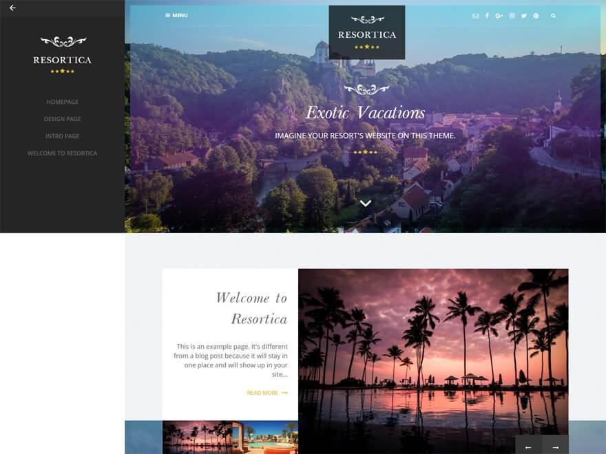 Resortica - Best Hostel Resort Temas de WordPress gratuitos (Plantillas de hostelería)
