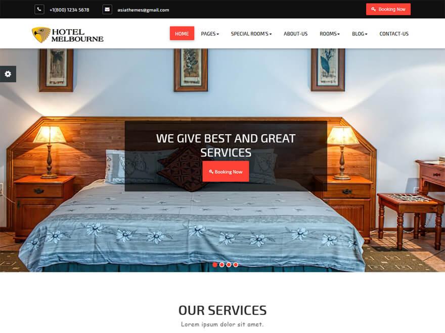 Hotel Melbourne - Best Hostel Resort Temas gratuitos de WordPress (Plantillas de hostelería)
