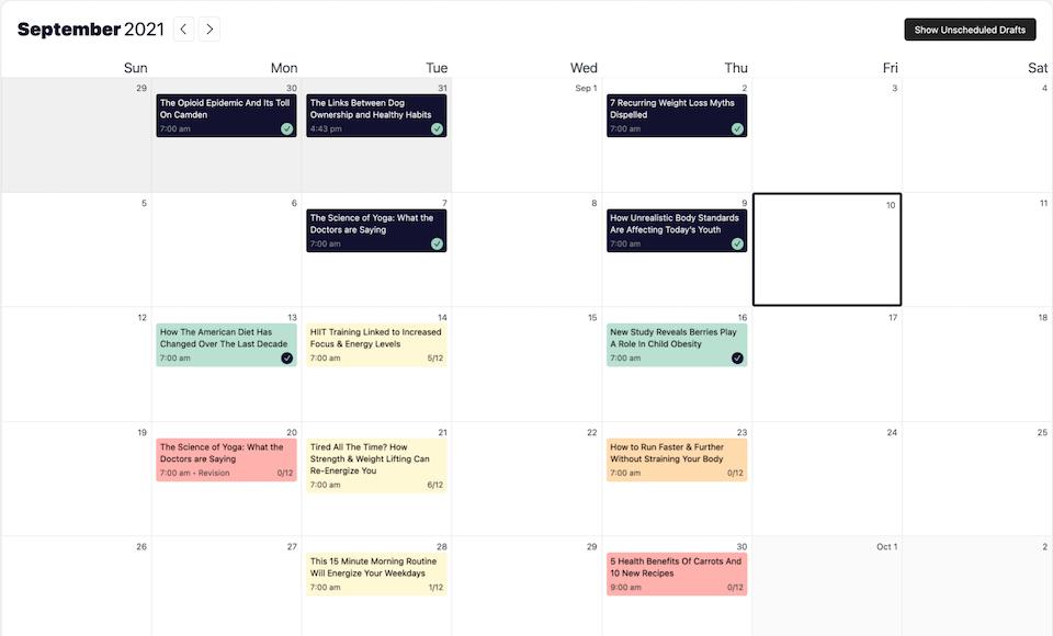 Calendario de esfuerzo