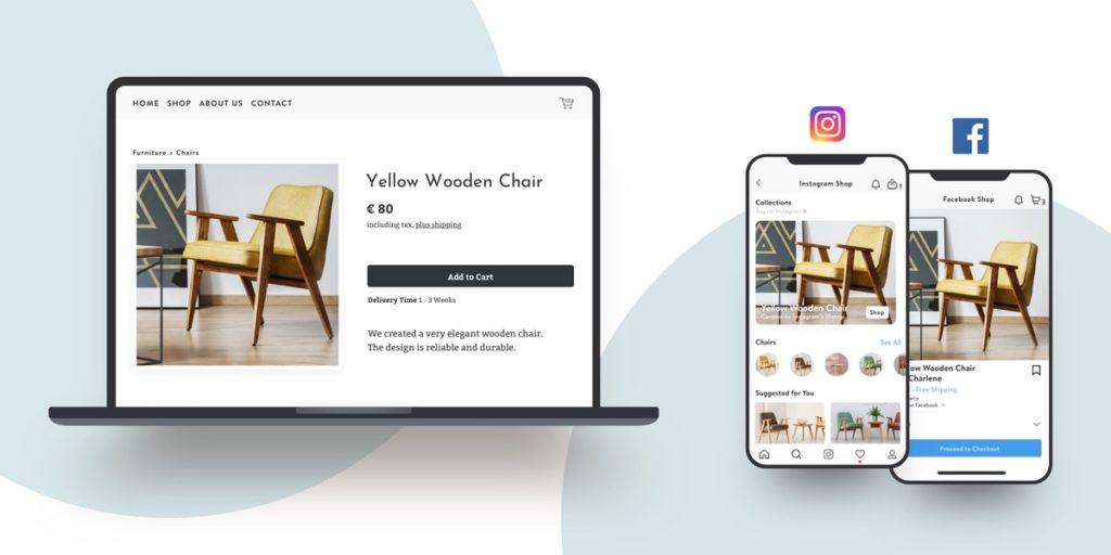 Una tienda en línea construida con Jimdo que se muestra en Facebook e Instagram.
