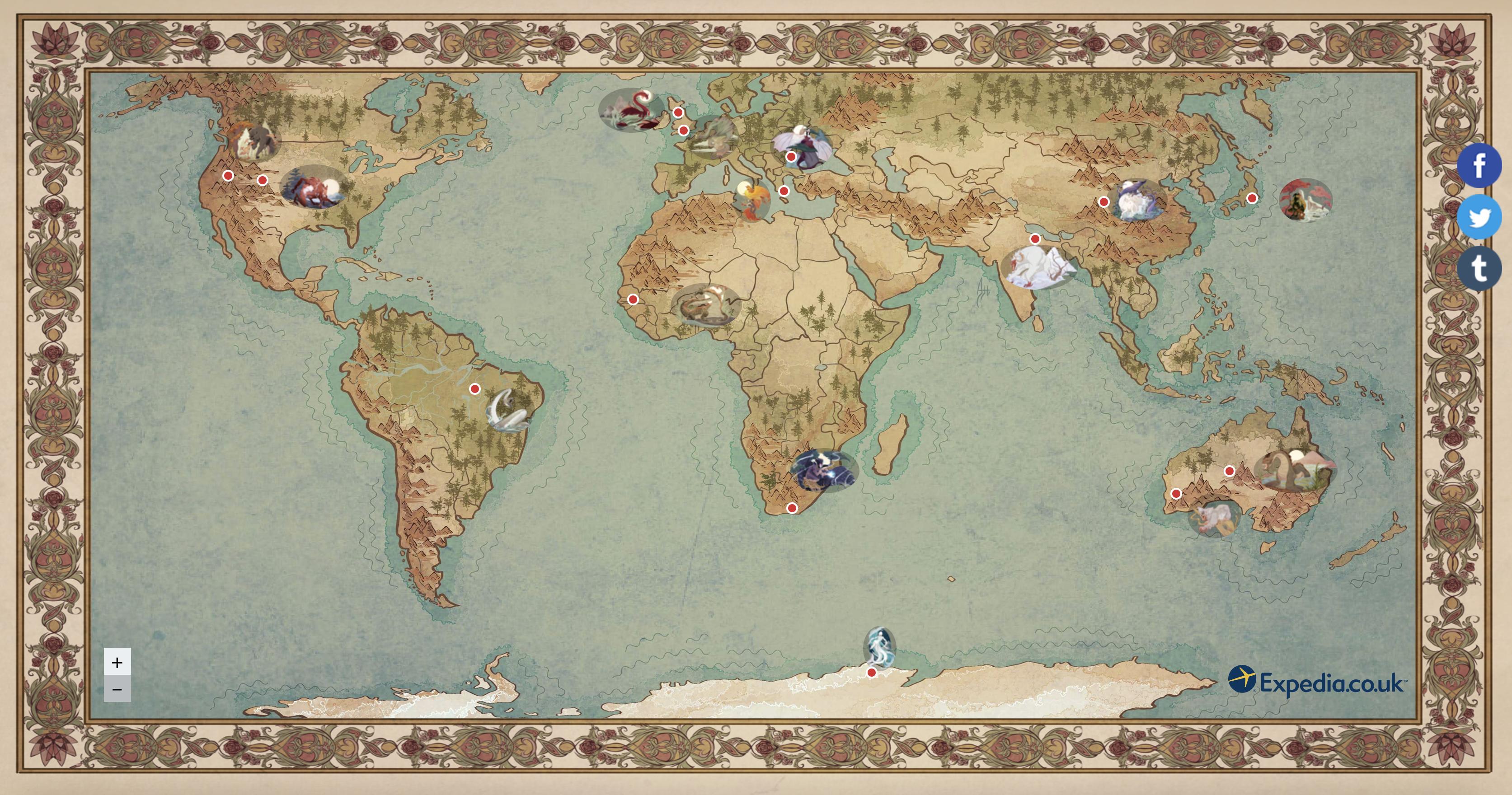 Mapa de Expedia sobre criaturas míticas y dónde encontrarlas
