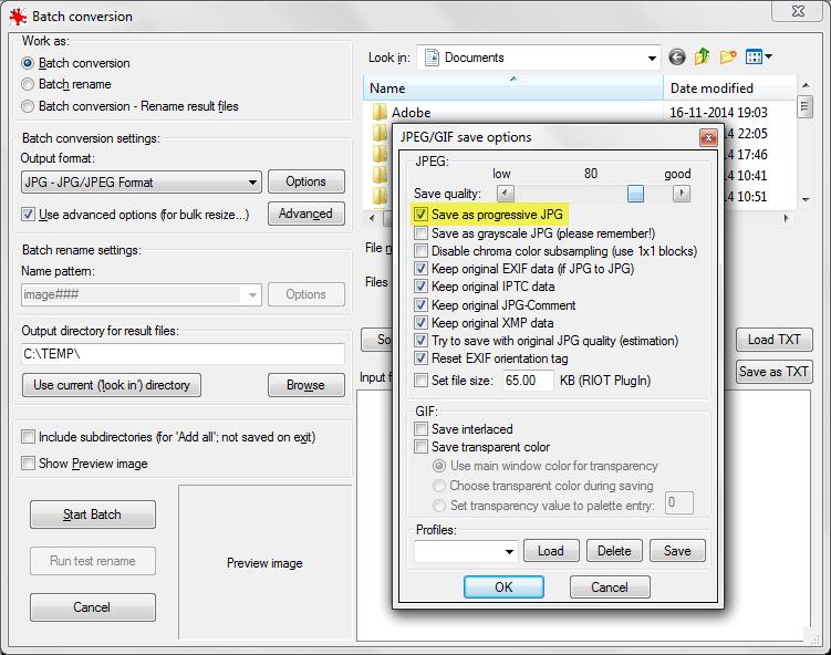 IrfanView admite la conversión por lotes con JPEG progresivo