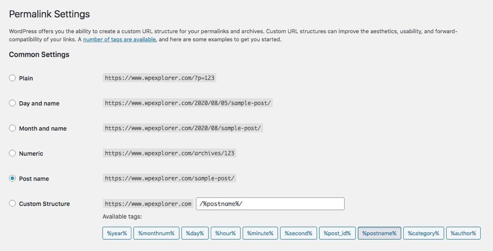 Estructuras de enlaces permanentes de WordPress